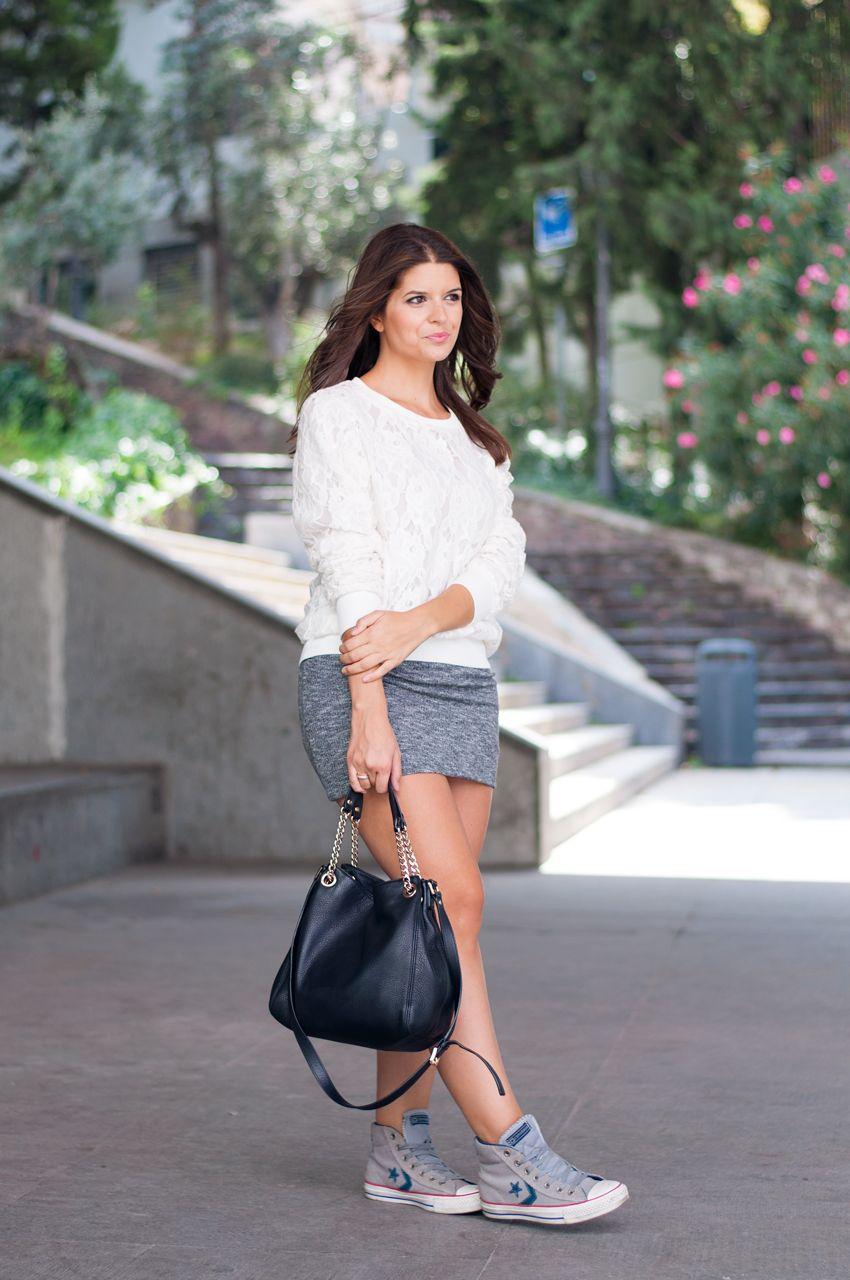 a41e29a91 falda-de-punto   Sweaters48   Fashion, Dresses, White dress