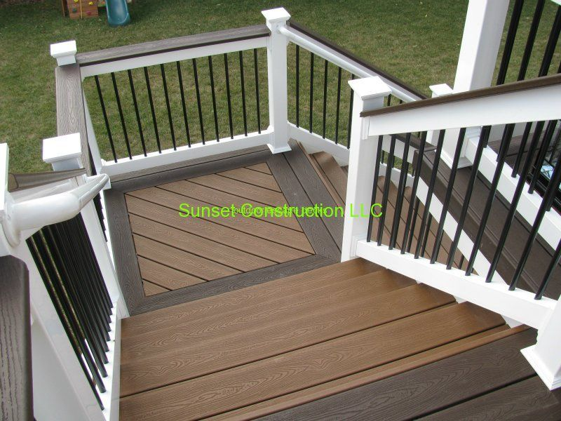 Trex stairs trehouse color and vintage lantern border by for Composite decking and railing