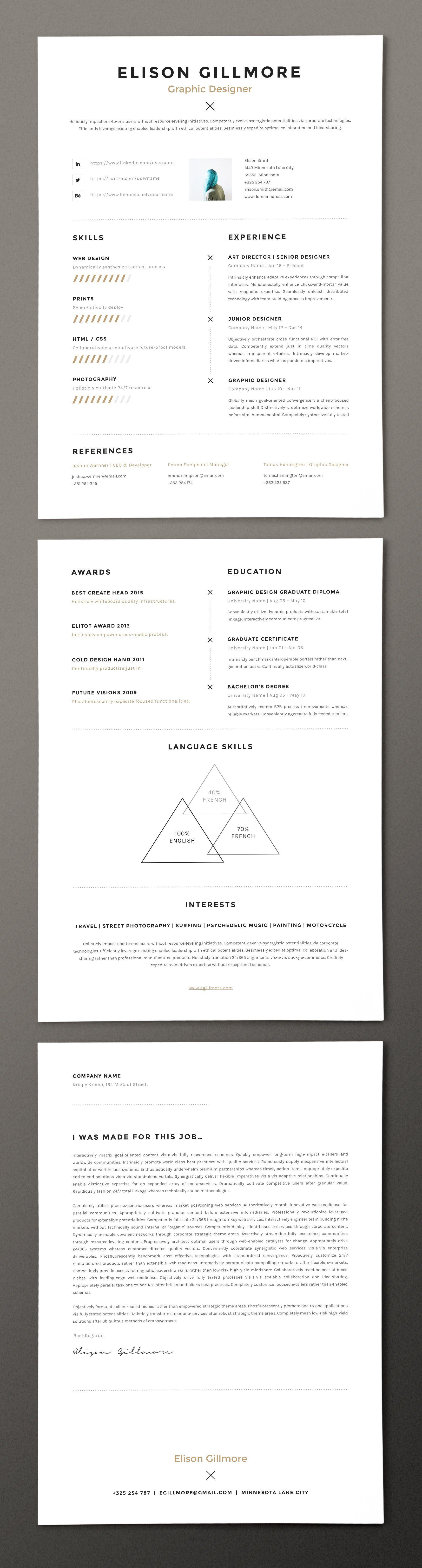 Unique Resume Cv For Pages And Word Cv Unique Mise En Page Graphic