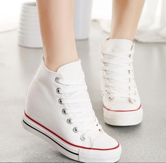 6c5b961f2124 Womens Hidden Wedge Canvas High-Top Lace Up Platform Sneakers Trainers Shoes