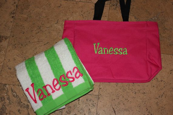 Personalized Beach Bag and  Towel by SunnyStitches1 on Etsy, $23.99