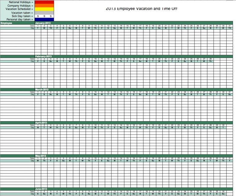 Best Photos Of Pto Calendar Template In Excel Free Employee  Gail