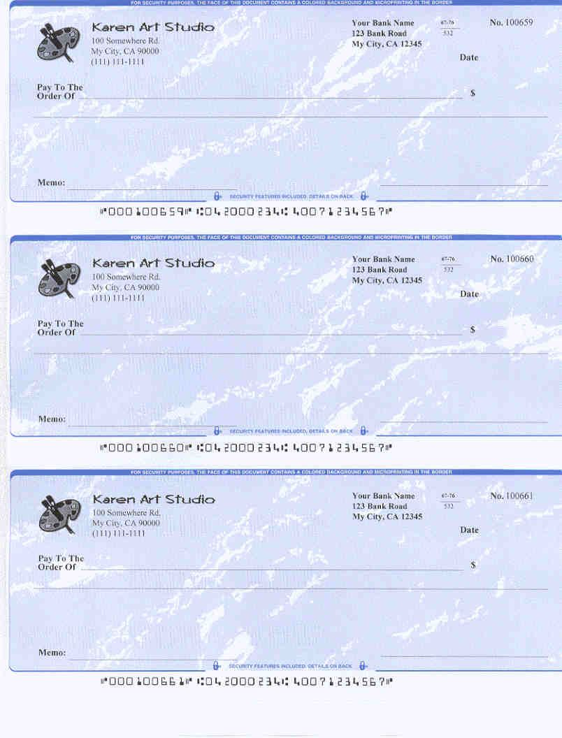 Business Check For Art Studio Printed By Ezcheckprinting Cheque Software Business Checks Printable Checks Printing Software