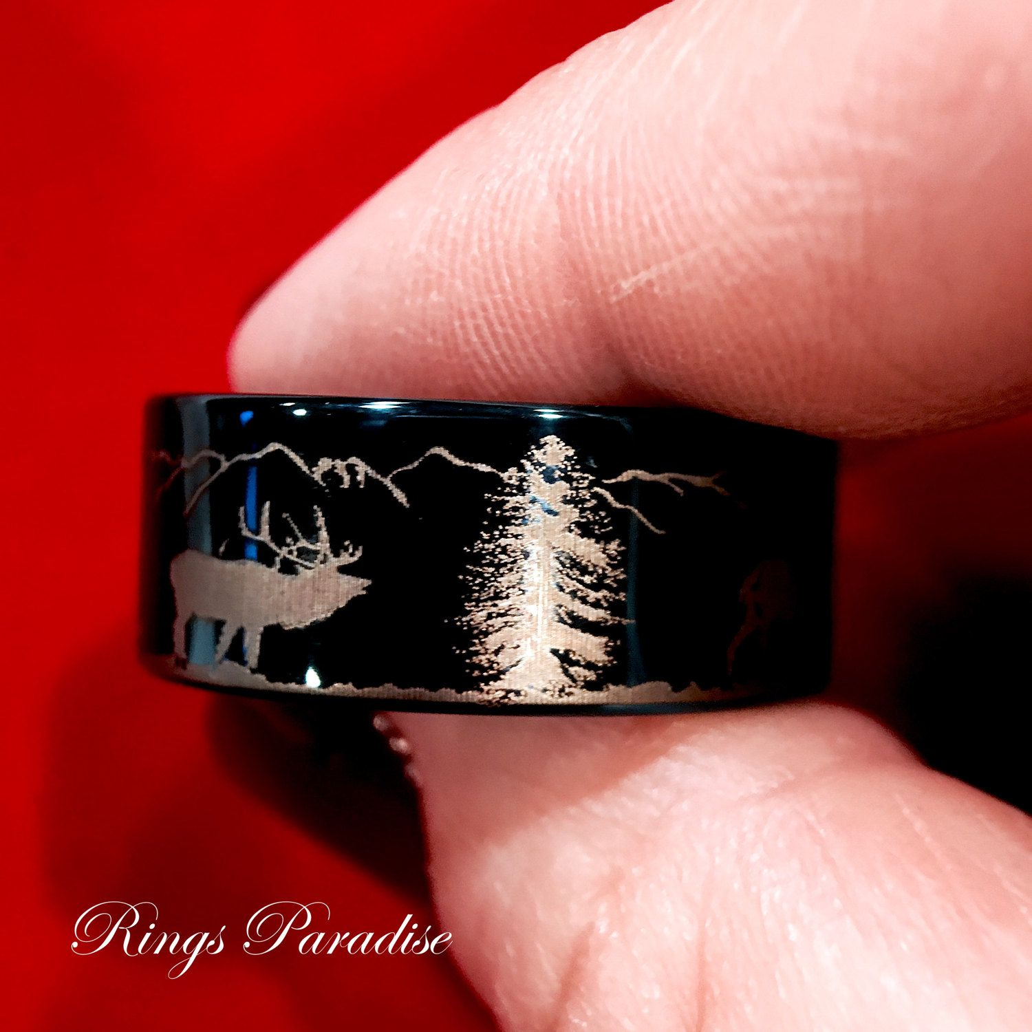 Wedding Bands, Deer Antler Mountains Forest landscape Wedding Bands ...