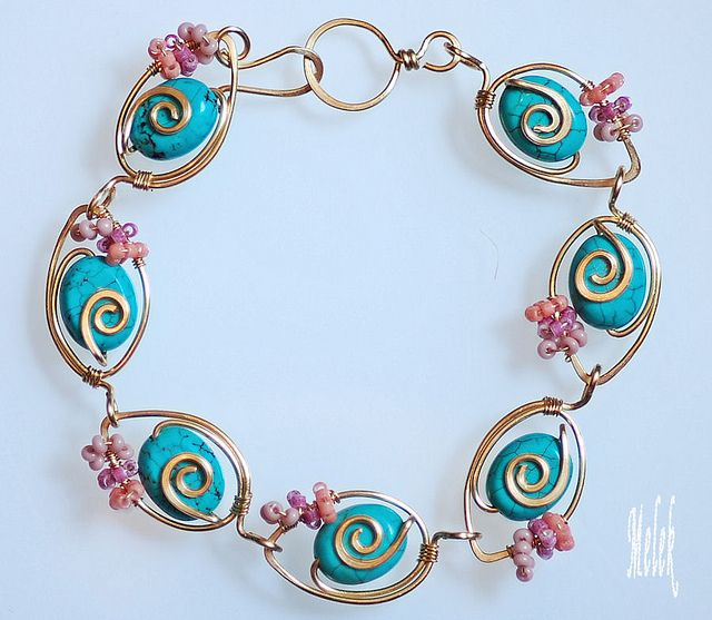 Turquoise Wire-Wrapped Bracelet by melekdesigns, via Flickr