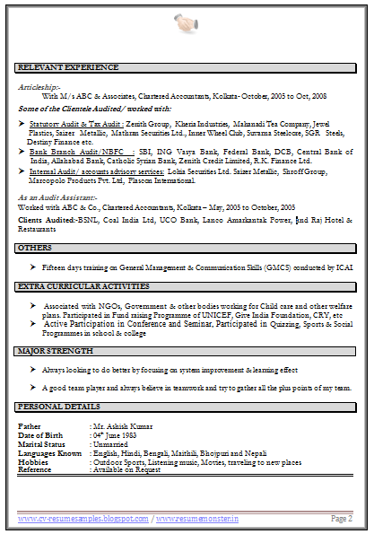 Cv Format For Chartered Accountant 2 Accountant Resume Cv