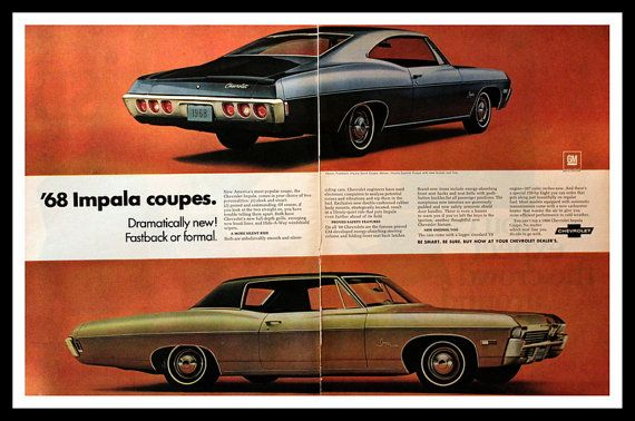 1967 Chevrolet Impala Ad 1968 Model Year By 3rdstvintagepaper