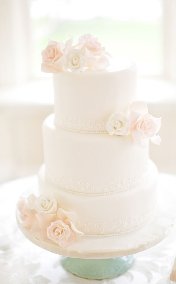 Love this cake!  Light colors, simple style, would prefer flowers centered at top and taken off from the sides.
