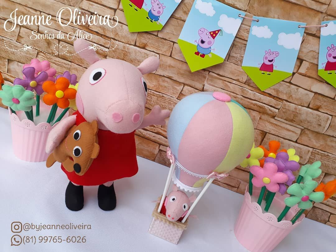 Peppa Pig E O Balao Centro De Mesa Coisa Linda Ne