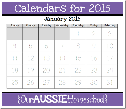 Calendars For 2015 Our Aussie Homeschool Updates For My Calendar
