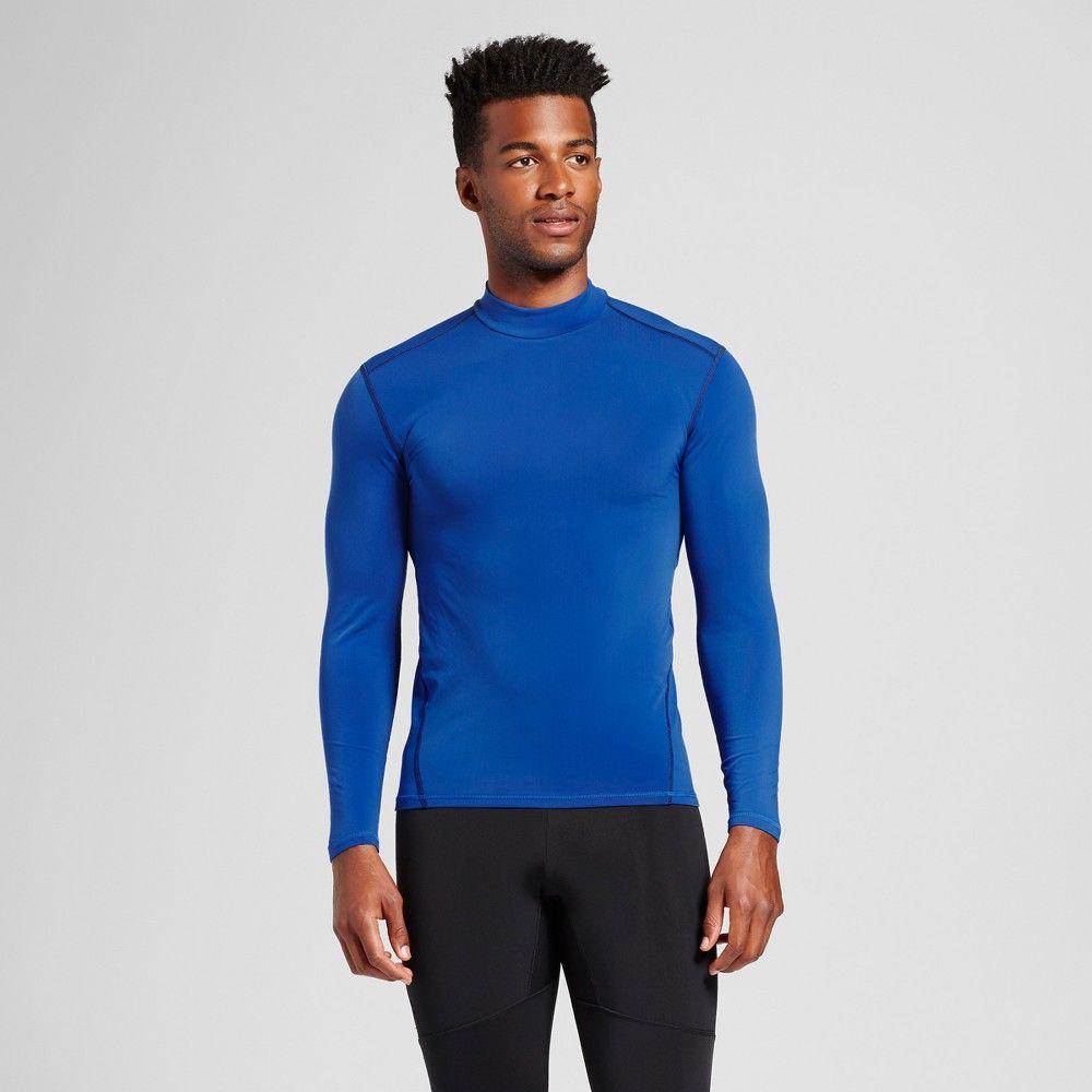 ca13ce1810693 Men s Long Sleeve Mock Neck Compression Shirt - C9 Champion Bright Blue Xxl