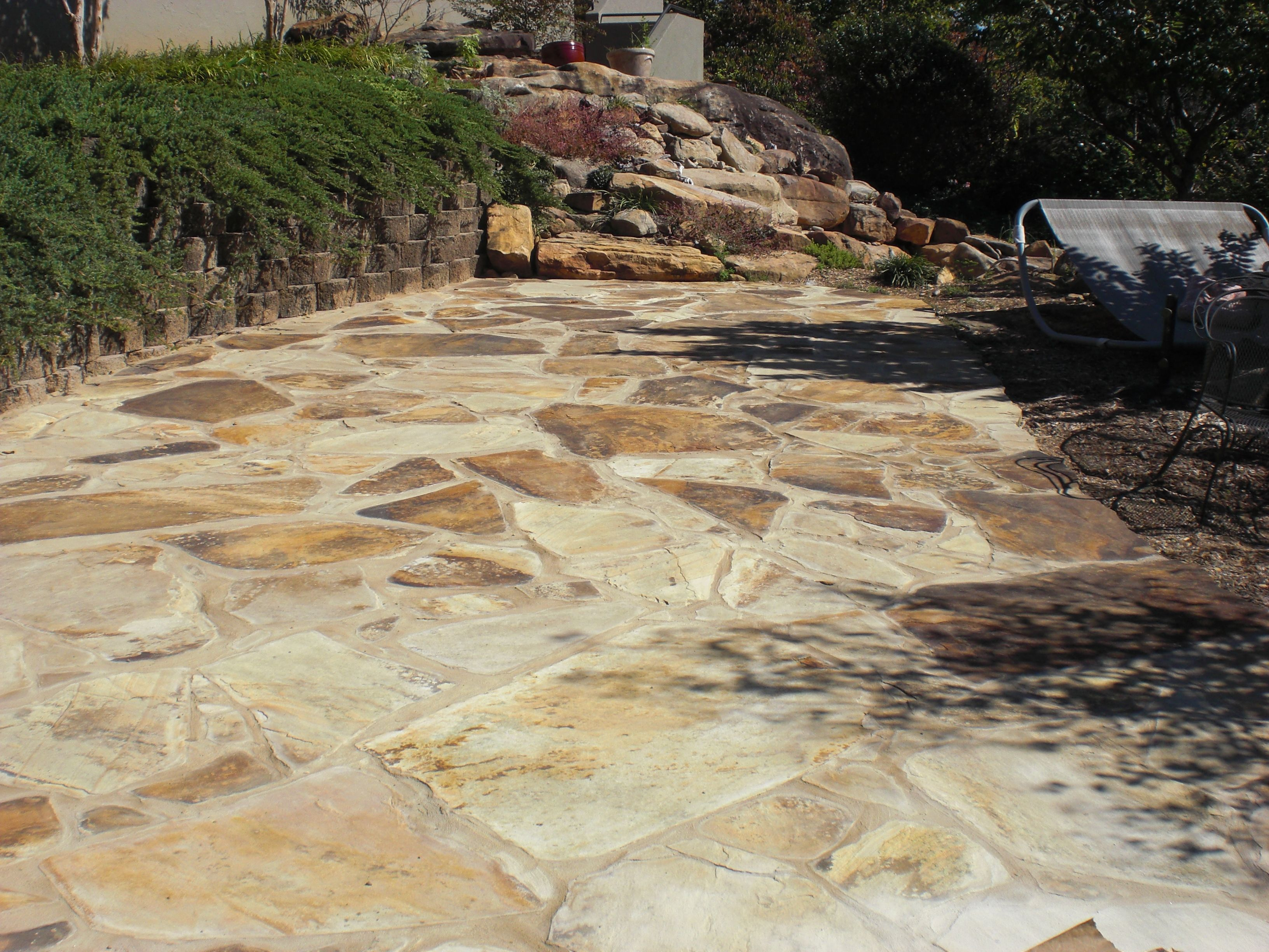Repairs To The Mortar On This Flagstone Patio Made It Look Like New No Show Waterproofing System Was Used To Seal The Flags Patio Flagstone Patio Pool Decks