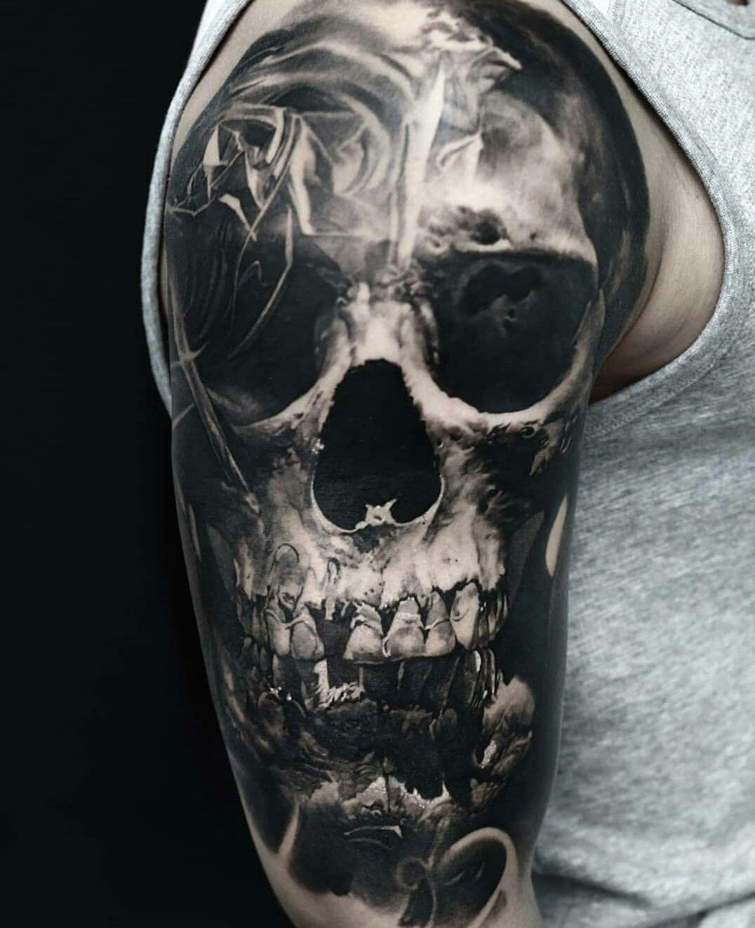 Смотреть картинки татуировок с черепами человек