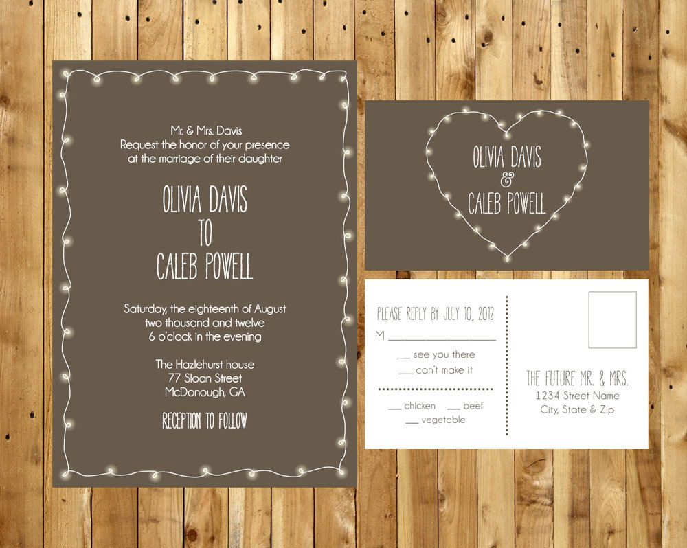 Garden lights wedding invitation diy digital printable pdf and