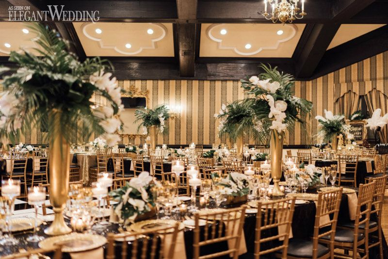 An Old Hollywood Meets Great Gatsby Wedding Elegantwedding Ca Gatsby Wedding Decorations Gatsby Wedding Theme Gold Wedding Reception