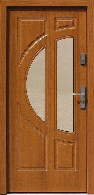 Wooden entrance door to the house from the model catalog …