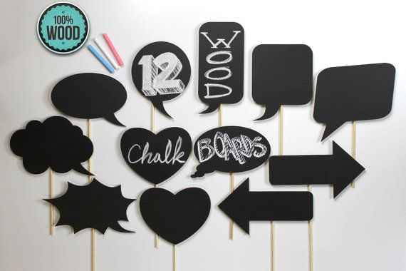 12 Piece Wooden Chalkboard Props.  Fun photo booth props for weddings or other parties.