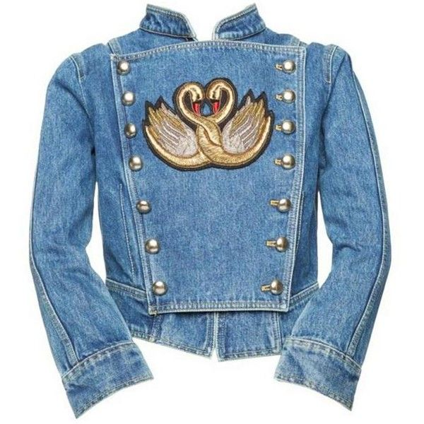 Marc Jacobs Colonial Denim Jacket ($695) ❤ liked on Polyvore featuring outerwear, jackets, marc jacobs, blue denim jacket, blue jean jacket, blue jackets and high collar jacket