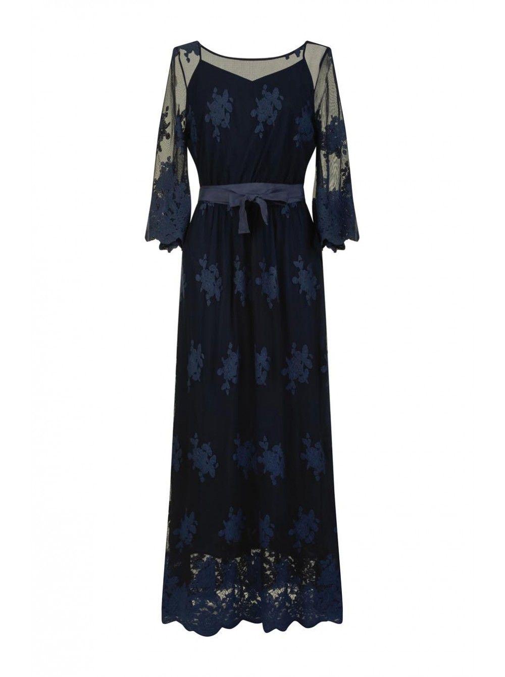 38234bb8067 Robe longues en dentelle BLEU MARINE - Robes Femme - NAF NAF