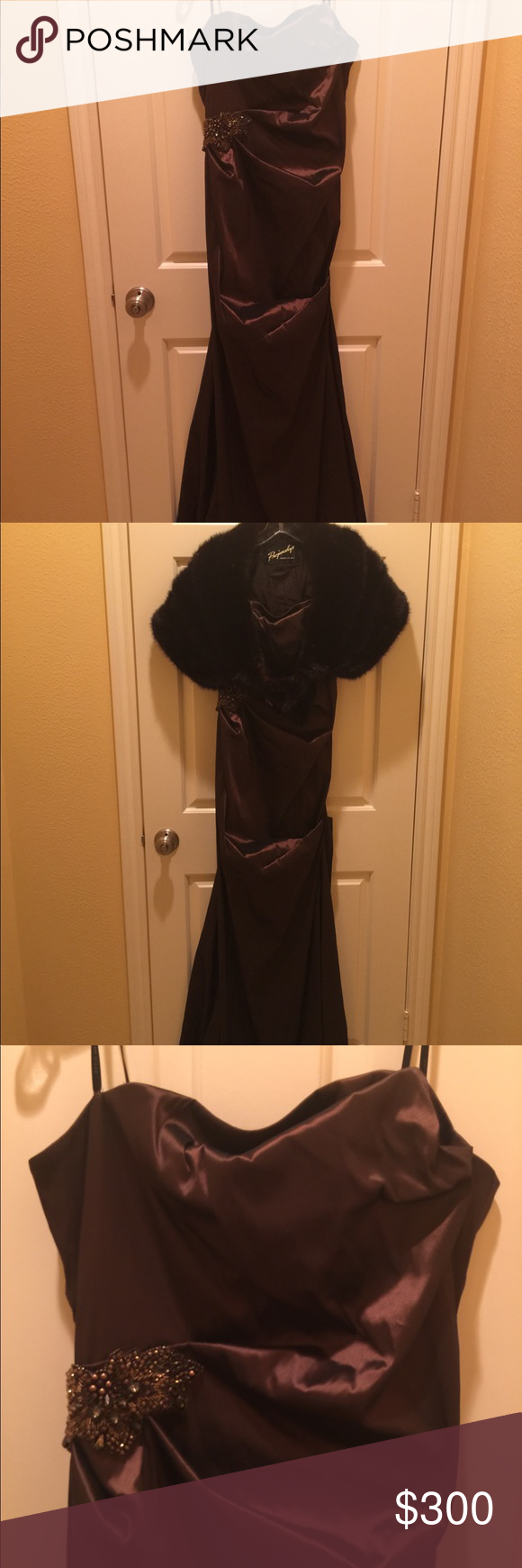 NWT David Meister strapless evening gown Glamorous strapless evening gown Dark m…