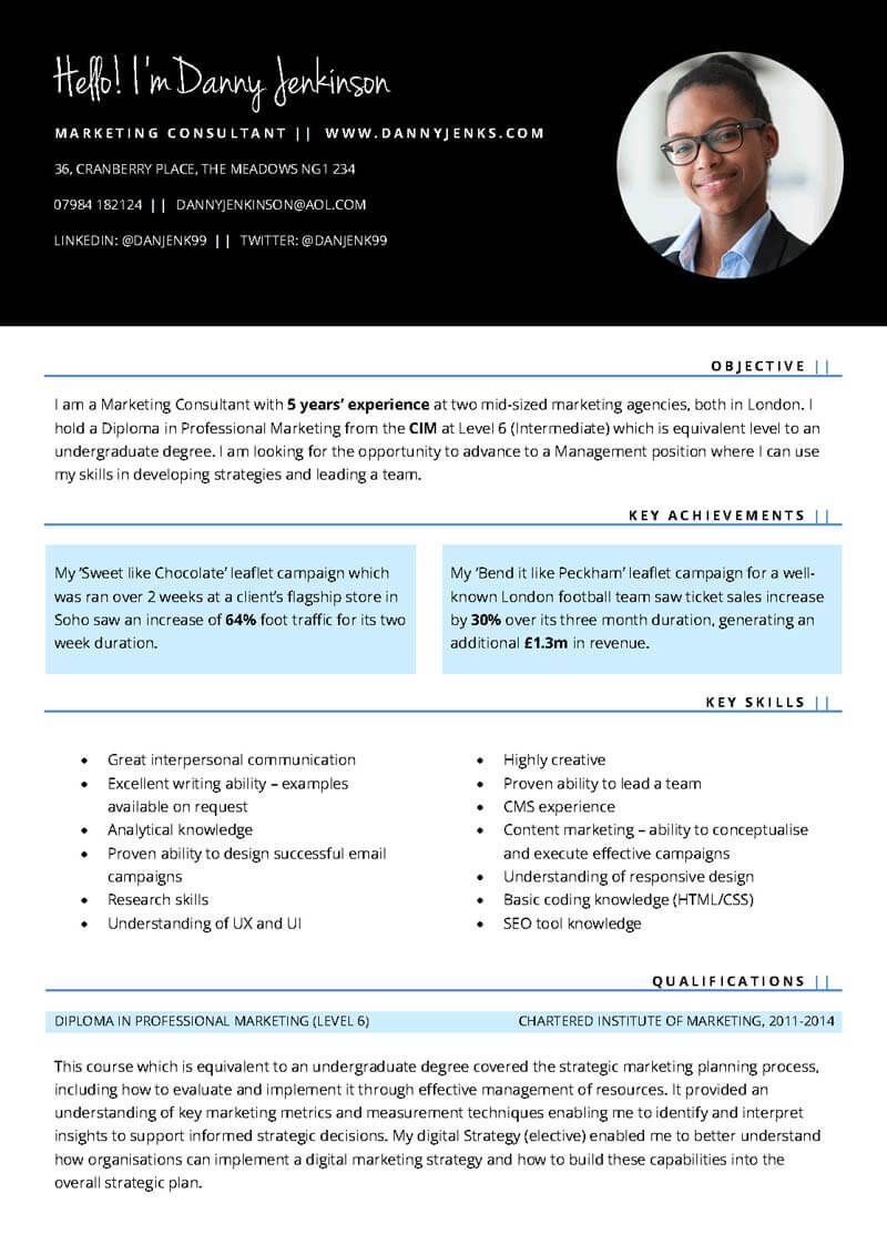 Marketing CV Free Microsoft Word template (skills