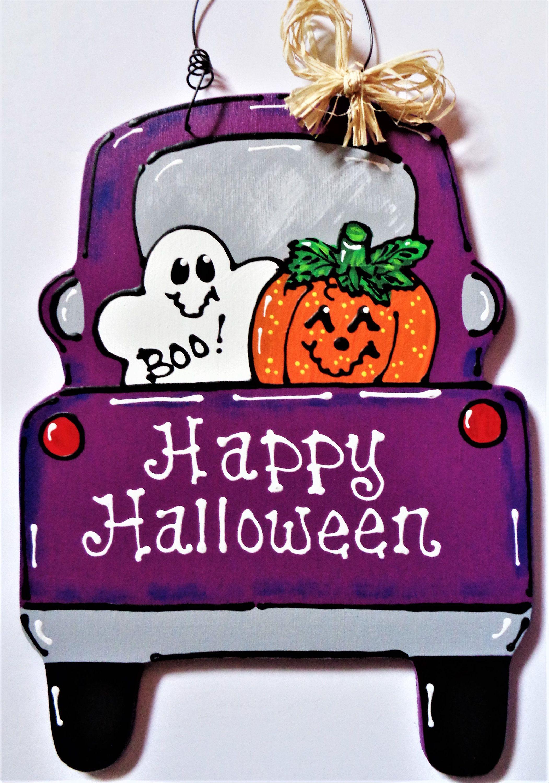 Happy Halloween Vintage Style Truck Sign Wall Door Hanger Wall Art Plaque Ghost Pumpkin Hand Country Wood Crafts Halloween Wood Crafts Halloween Door Hangers