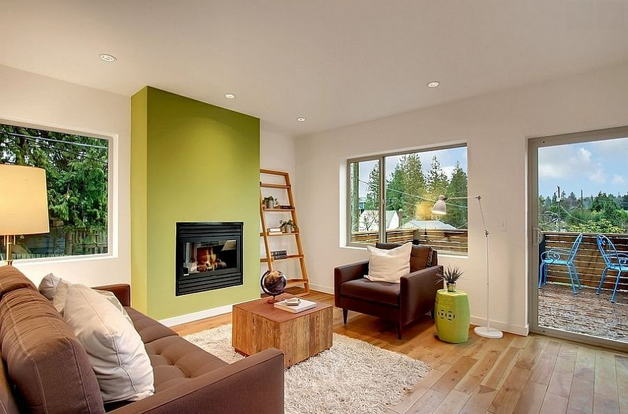 Stylish Living Room With A Green Accent Wall