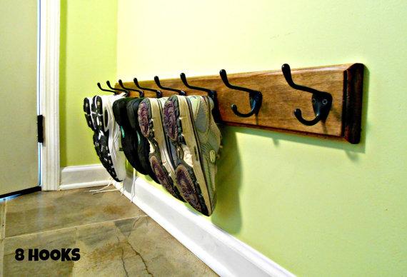 Shoe Rack Entrance Shoe Holder Footwear Organizer Wooden Etsy Diy Shoe Rack Shoe Holders Wall Shoe Rack