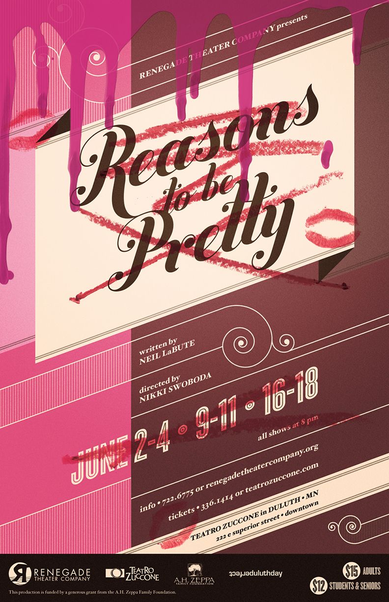 Reasons To Be Pretty Theater Poster Design For Renegade Theater