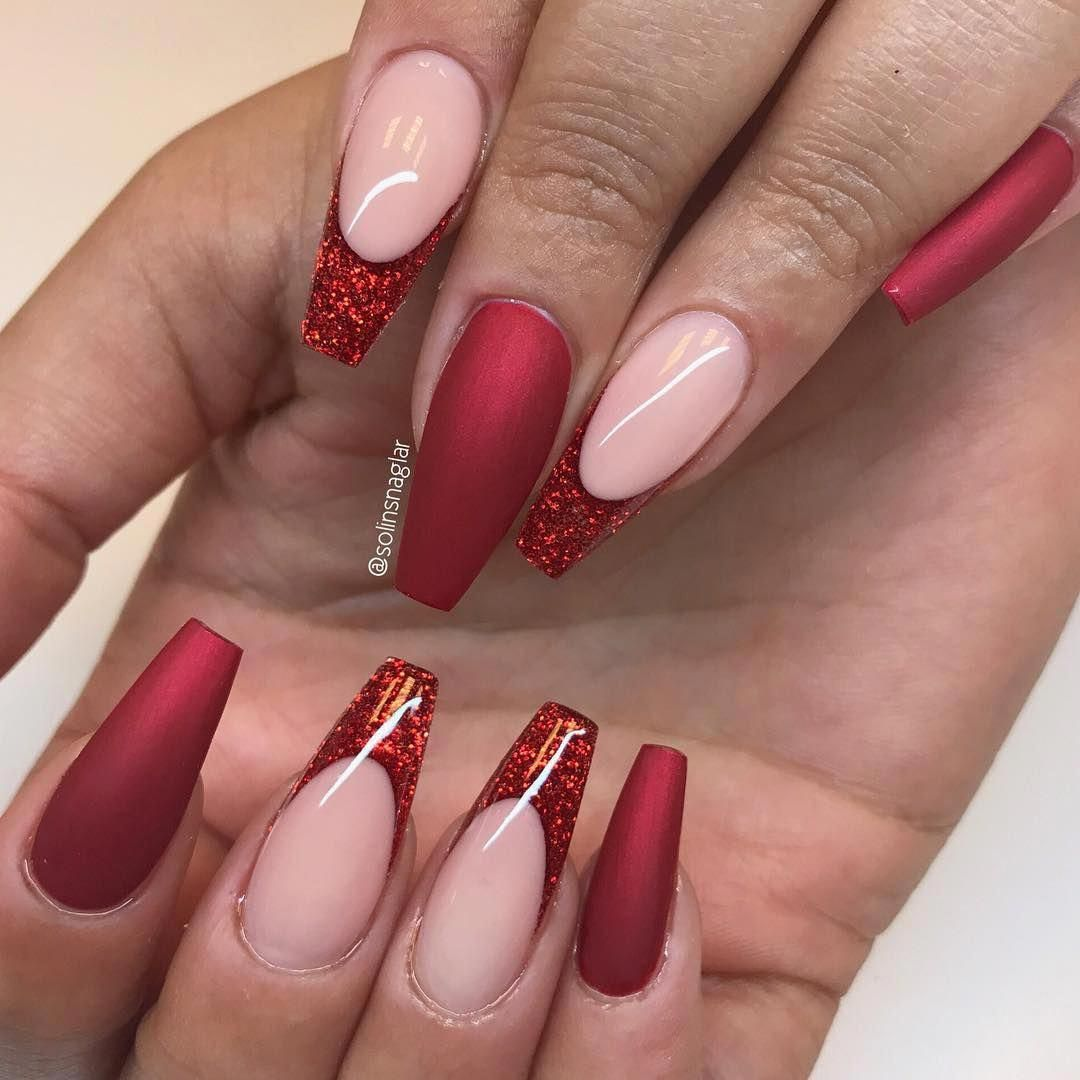 I Really Love These Matteacrylicnails Ballerina Nails Shape Red Acrylic Nails Red Nails Glitter