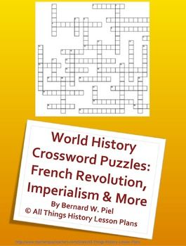 World History Crossword Puzzle Bundle: French Revolution ...
