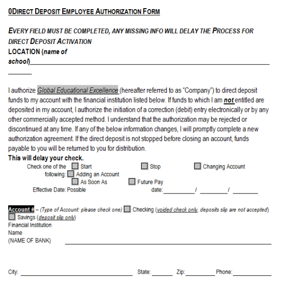 10 Direct Deposit Form Templates (With images) Templates
