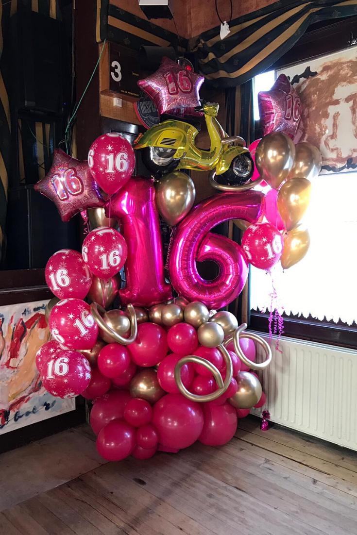 Sweet 16 Ballondecoratie Roze Ballonnen Ballon Ballondecoraties