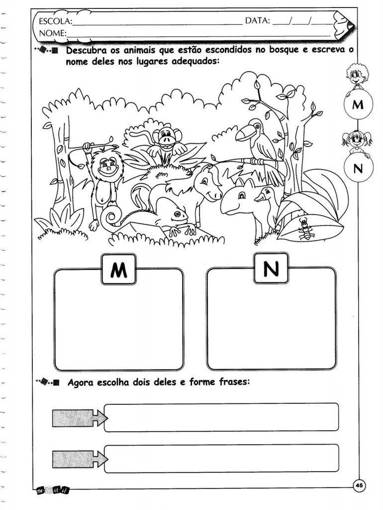 Atividades educativas com as letras M e N