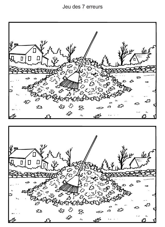 Le ramassage des feuilles mortes | Jeux des 7 erreurs, Jeux des erreurs, Jeux des 7 différences