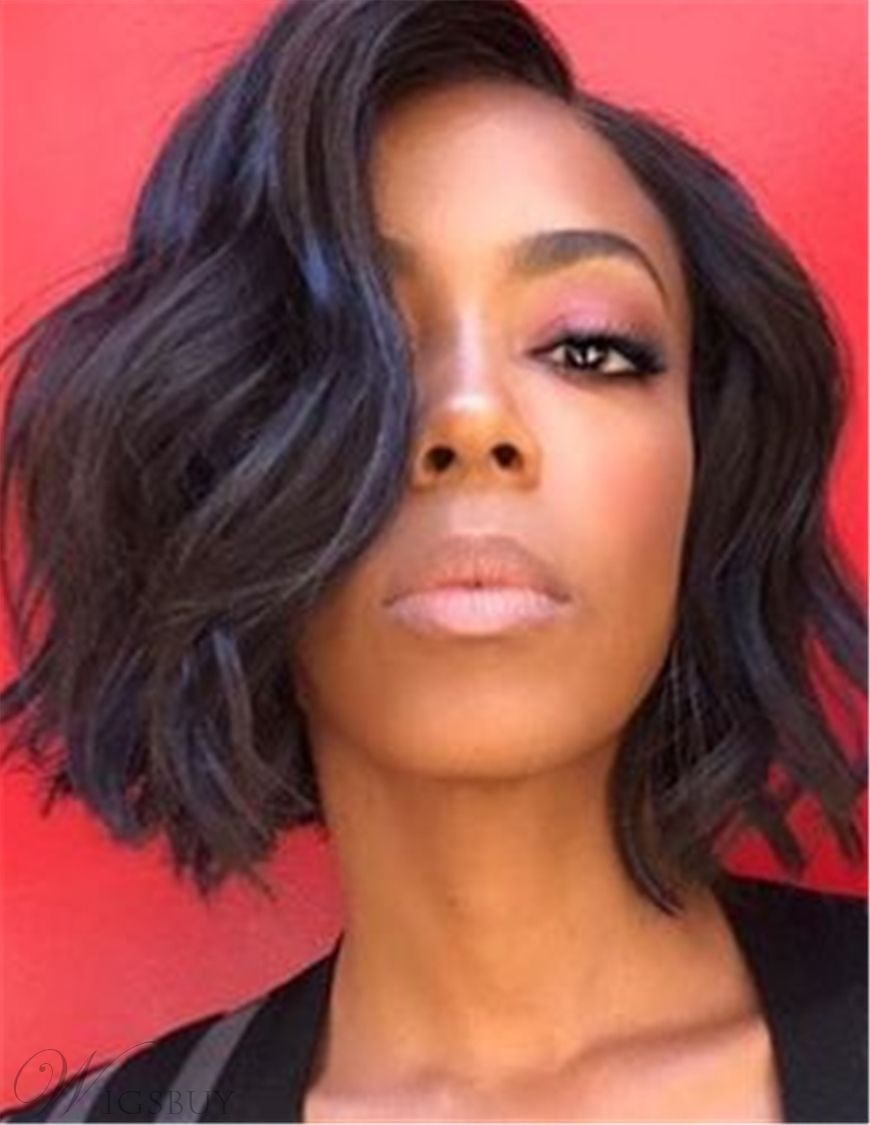 Charming Graceful Bob Wavy Hairstyle Dark Brown Synthetic