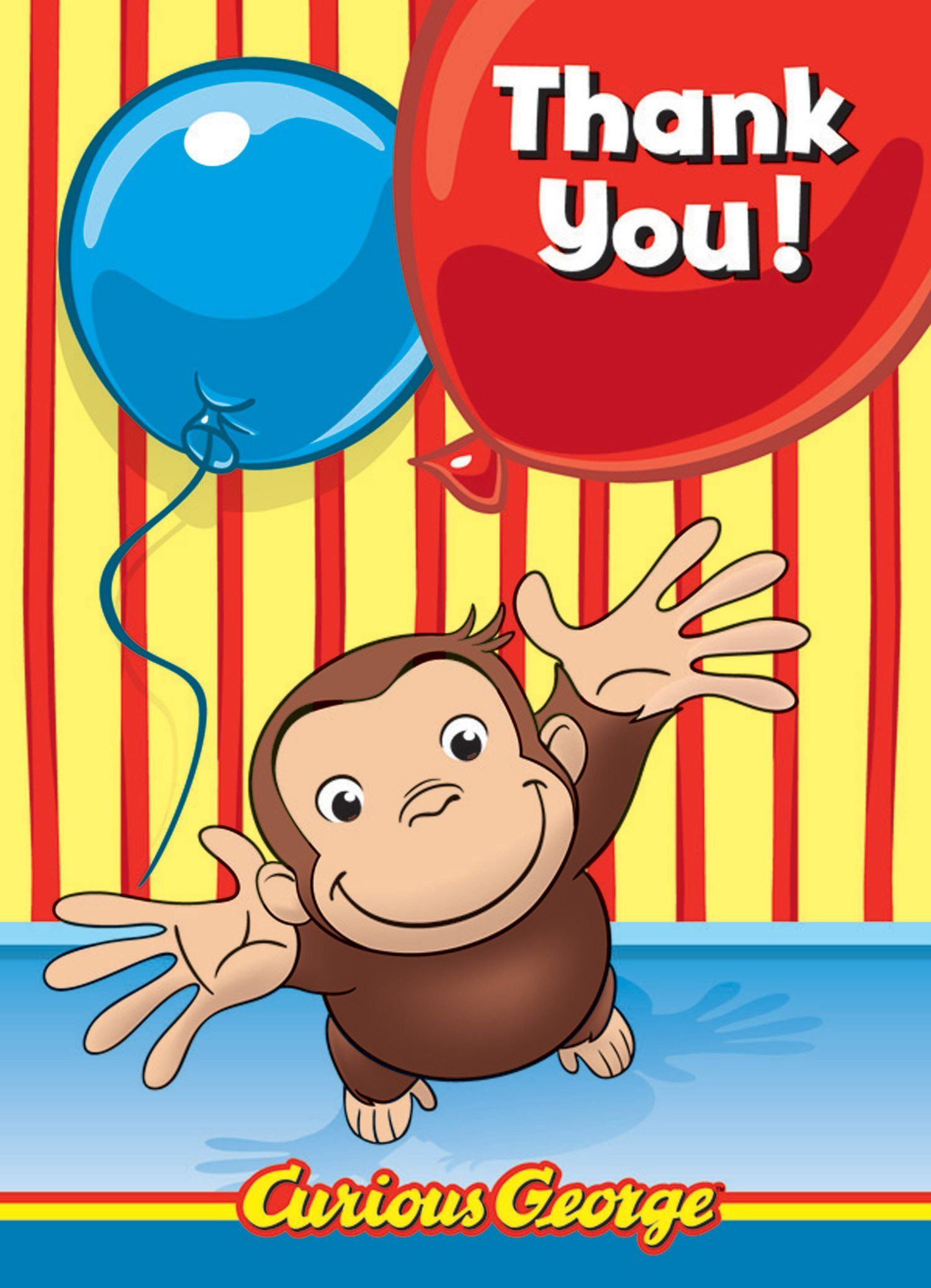 Curious George Thank You Cards Party Ideas Pinterest