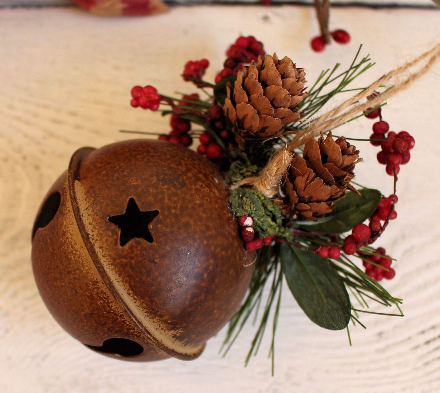 10 IN RUSTY METAL BELLS CANDLE HOLDER CHRISTMAS DECORATION