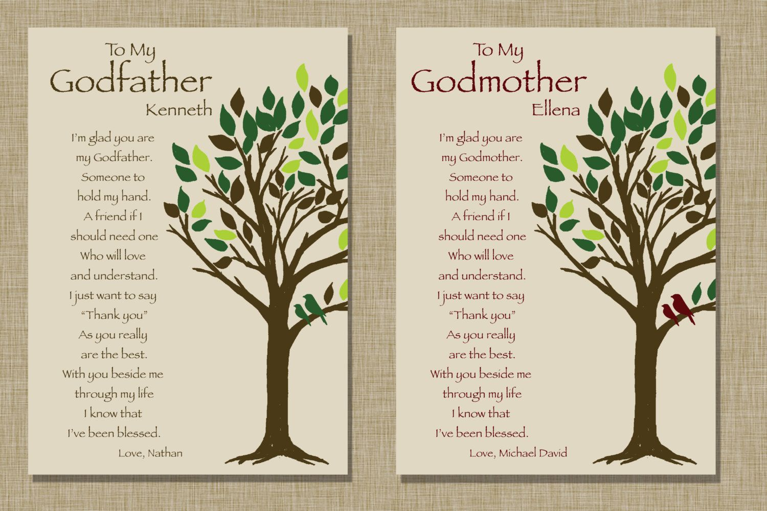 Godparents gift Personalized gift for by KreationsbyMarilyn