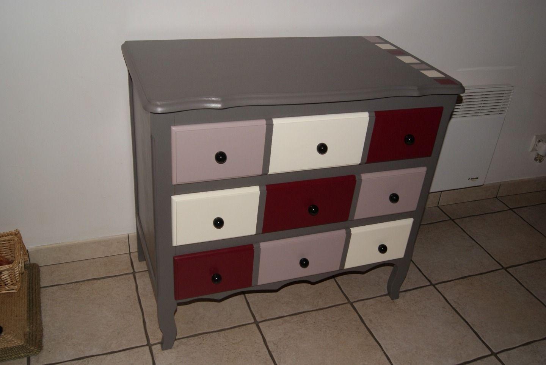 Commode 3 tiroirs relook e en trompe l 39 oeil meubles et rangements par l atelier de pascale - Meuble trompe l oeil ...