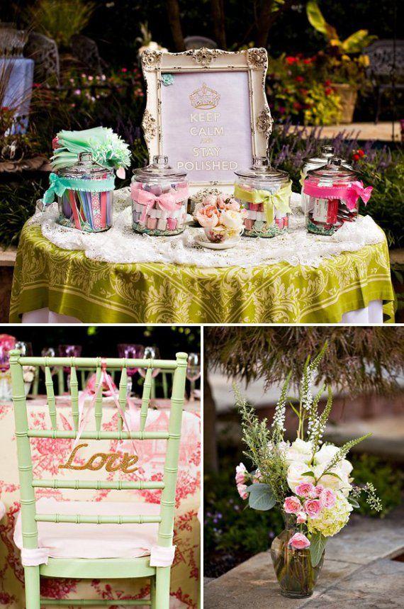 Outdoor Vintage Lace Tea Party Bridal Shower Decor Table