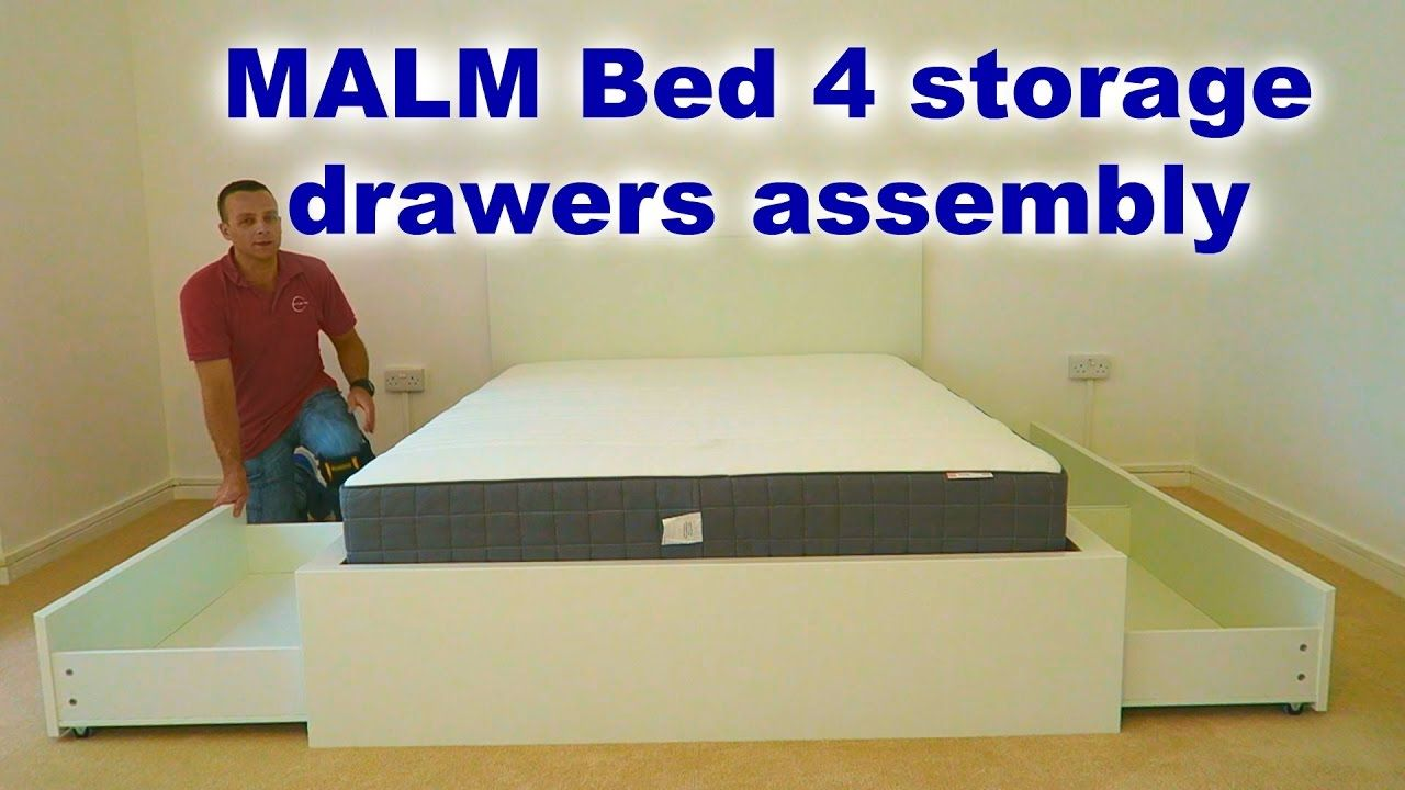 Ikea Malm Bed Frame Assembly With 4 Storage Boxes White Luroy