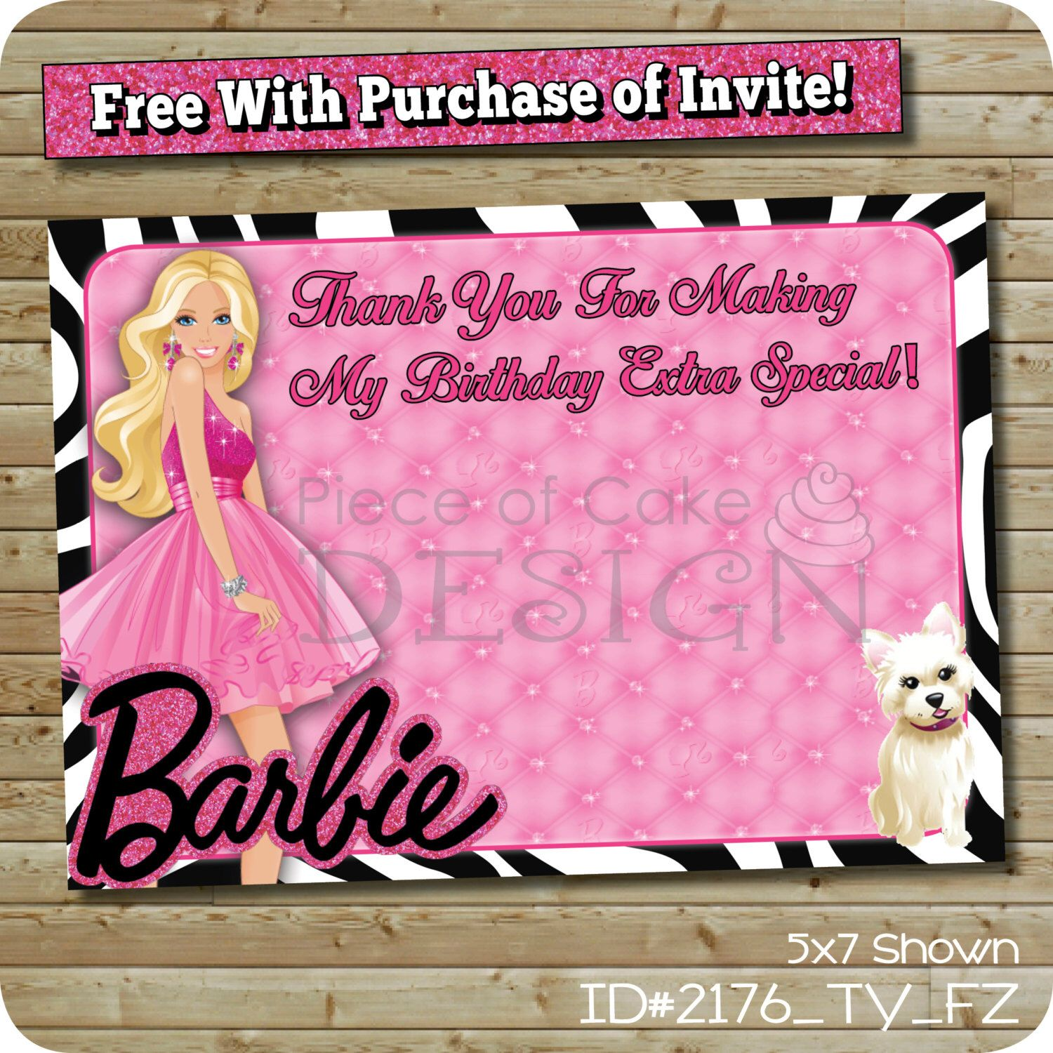 Barbie Thank You Card Printable Birthday Party by partyprintouts – Printable Birthday Thank You Cards