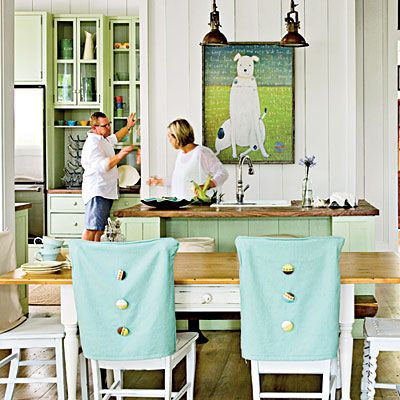 dining rooms with a coastal touch | chair covers, dining chairs