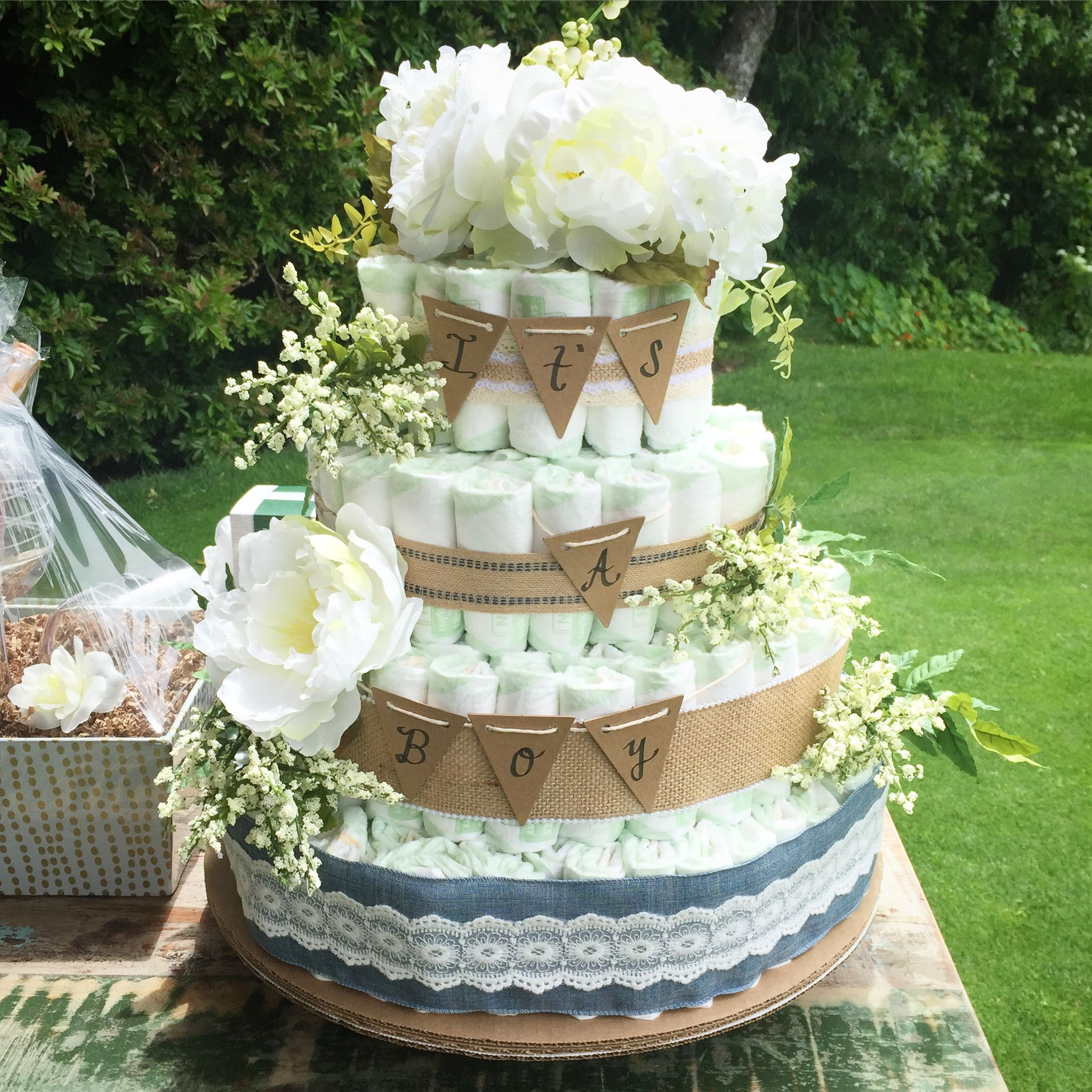 Diy Shabby Chic Rustic Baby Boy Shower 3 Tiered Diaper Cake