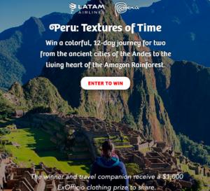 Win A 12 Day Trip to Peru!