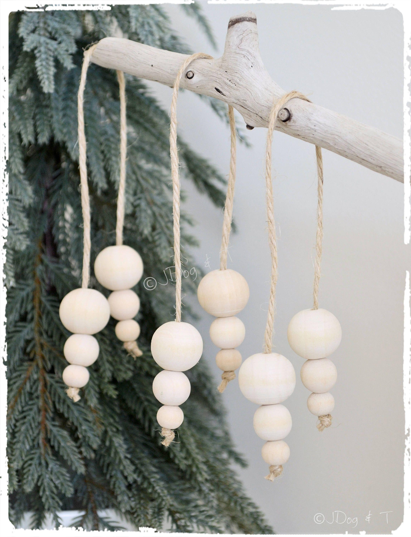 Wood Bead Christmas Bauble Dangling Ornament Decoration Wood Etsy Boho Christmas Decor Diy Christmas Ornaments Natural Christmas Decor