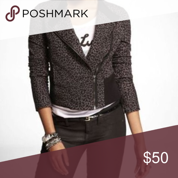 a0f509df0161 Express Leopard Moto jacket As if the moto style wasn't sassy enough, this  leopard print makes it over the top all out sass. Asymmetrical zipper with  side ...