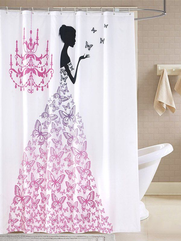 Waterproof Butterfly Fairy Printed Bathroom Shower Curtain With