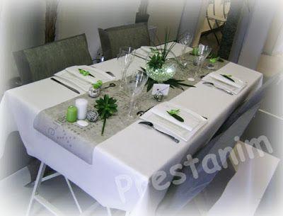 table anniversaire nature en gris blanc